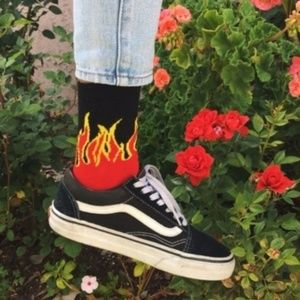🔥NEW Fire Red Flames Grunge Ankle Socks🔥